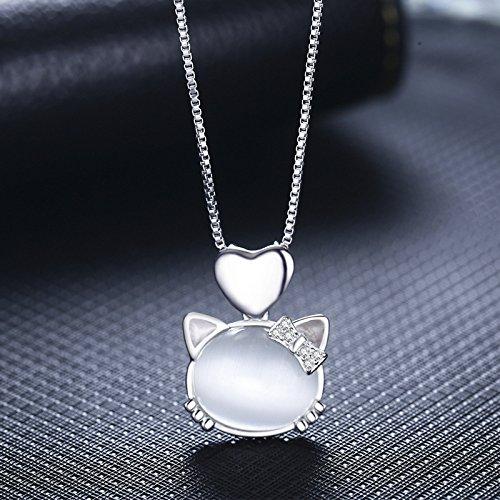 [比翼堂]レディース ネックレス オパール「ダイヤ輝くリボンの子猫」 純銀製 SL925 プラチナメッキ CZキュービックジルコニア プラチナメッキ 最高級ケース付き 2カラー(ホワイト & ピンク) (ホワイト)