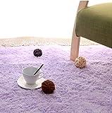 長方形 四角 シャギー ラグ エクセレント ムーティー マット ラグ マイクロファイバー 滑り止め付き 丸洗い 折り畳み 可能 ホットカーペットカバー 床暖房 対応 やわらか 絨毯 防音 低反発 高反発 (120CM*160CM, 紫色)