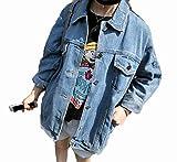 (オンリカ) Orika レディース 韓版 原宿 bf風 大きいサイズ ゆったり デニムコート 長袖 上着ジャケット(A5ライトブルー)
