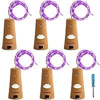 6個セット コルクライト AFUNTA ナイトライト 文字列ライト ボトルライト LED ライト LEDストリングライト イルミネーション ロマンチック ムラサキ