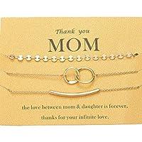 Zealmer Thank You Momブレスレットセット ゴールドコイン カーブチューブダブルサークルハンドブレスレット 母親へのカード用 ゴールド