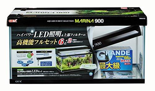 ジェックス マリーナ900LEDセット 黒枠ガラス水槽 フィルター・LED付き