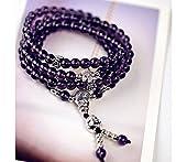 Gebosi レディース108珠 4連数珠 水晶 アメジスト良縁成就 金運招財 浄化守護 幸運をもたらすパワーストーンブレスレット/ネックレス 祈り数珠