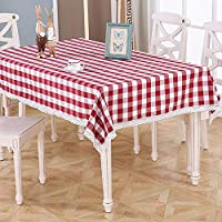 市松模様の縞模様のテーブルクロス/コットンの麻/洗える、小さな国の台所ダイニングテーブルカバーに適して (色 : D, Size : 90x150)