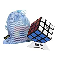 (Black) - 57mm MoYu AoLong V2 Puzzle 3D Magic Speed Cube aolong enhance version 3x3x3 cube, Come with one bag and one base stand as gift (Black)