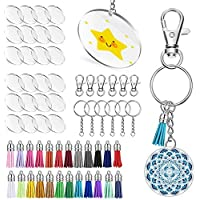 Umisu 24 Pieces Acrylic Transparent Circle Discs 2 Inch Diameter Round Clear Acrylic Keychain Blanks and Tassel Pendant 96pcs Keyring Set for DIY Projects and Crafts