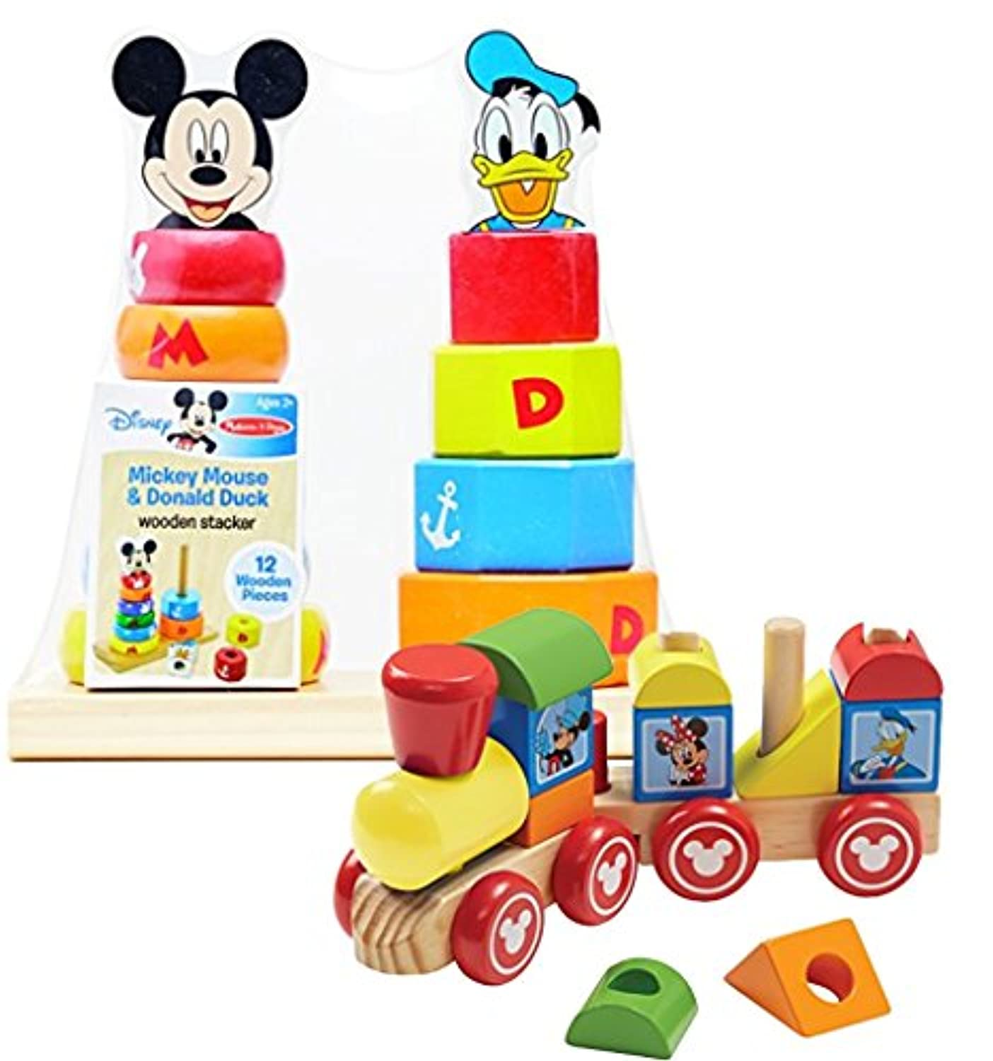 バンドルIncludes 2アイテム – Melissa & Dougディズニーミッキーマウスand Friends Wooden Stacking Train ( 14個)とMelissa & Doug Disney Baby Mickey Mouse and Donald Duck木製Stackerおもちゃ( 12個)