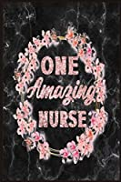 One Amazing Nurse: A 6x9 Black Marble Rose Gold Floral Wreath Gratitude Journal Perfect For Notes Journal For A Nurse Student School Nursing Student Graduation Gift