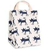 Lunch Bags, HOMREE Waterproof Insulated Lunch Totes Reusable Canvas Fabric Grocery Bags Handbag for Adults Kids Men Women (Blue-Cat)
