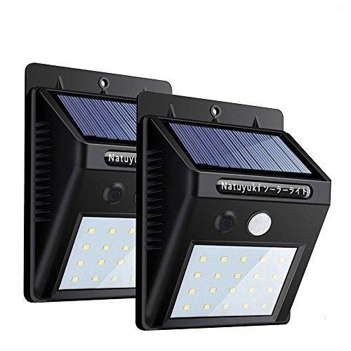 改良版 ソーラーライト 人感センサーライトボタン付き 20led 屋外屋内照明 Natuyuki 自動点灯 消灯 太陽発電防犯ライト 2個