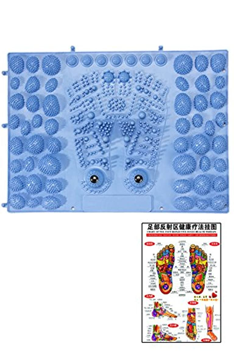 冷える粗い破壊的(POMAIKAI) 足型 足ツボ 健康 マット ダイエット 足裏マッサージ 反射区 マップ セット (ブルー)