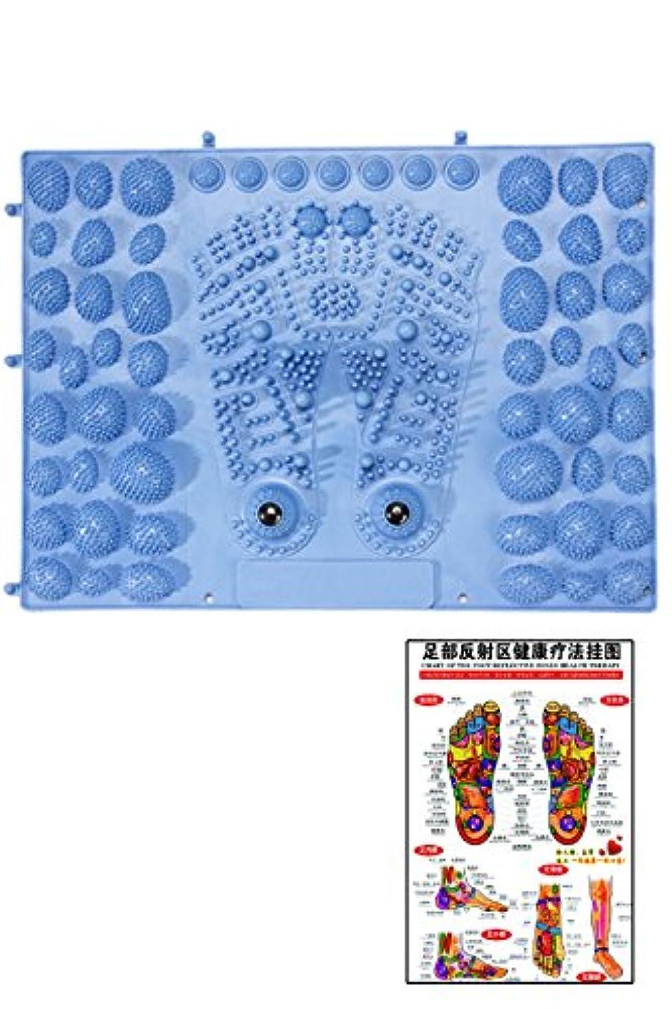 津波ラウンジほかに(POMAIKAI) 足型 足ツボ 健康 マット ダイエット 足裏マッサージ 反射区 マップ セット (ブルー)