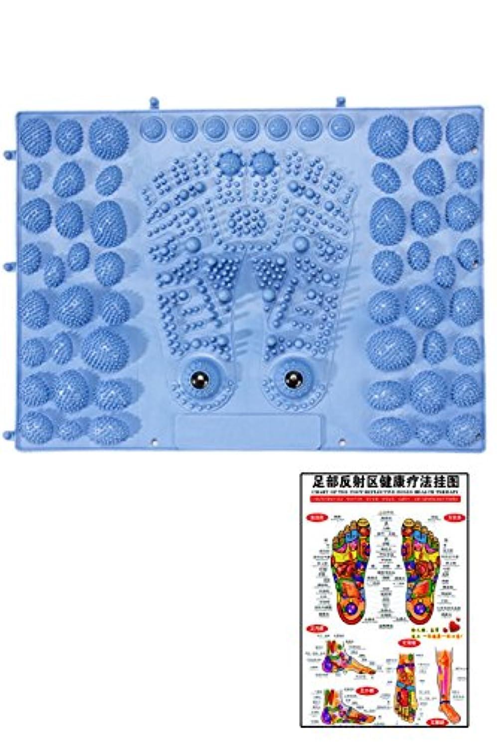 物足りないアイスクリーム荒れ地(POMAIKAI) 足型 足ツボ 健康 マット ダイエット 足裏マッサージ 反射区 マップ セット (ブルー)