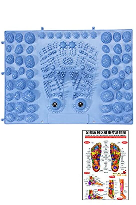ワークショップ絶縁する祭り(POMAIKAI) 足型 足ツボ 健康 マット ダイエット 足裏マッサージ 反射区 マップ セット (ブルー)