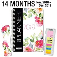 "HARDCOVER Calendar Year 2019 Planner: (November 2018 Through December 2019) 5.5""x8"" Daily Weekly Monthly Planner Yearly Agenda. Bonus Bookmark,Pocket Folder and Sticky Note Set (Elegant Floral) [並行輸入品]"