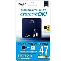 ナカバヤシ Digio2 USB2.0 マルチ カードリーダー ブルー CRW-6M73BL
