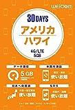 アメリカ・ハワイ専用プリペイドSIM (5GB/30日間) 4G/LTE 通話・SMS無料