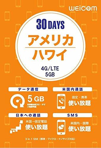 アメリカ・ハワイ専用プリペイドSIM (5GB/30日間) ...