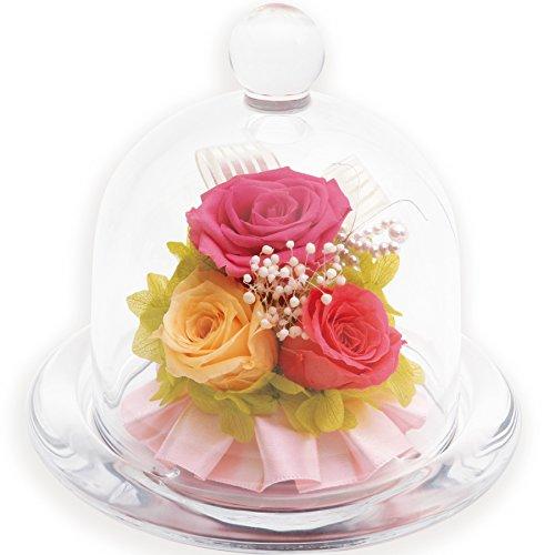 liLYS épice プリザーブドフラワー バラ 3輪 ギフト 誕生日 結婚祝い お祝い などに 【 ガラスドームアレンジ 】 4colors (スウィートピンク)