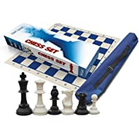 Premium Chess Set, Triple Weighted Chess Pieces (34 pieces-2 extra Queens), Blue Roll-Up Board and Blue Canvas Tube