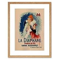 Theatre Stage La Diaphane Sarah Bernhardt Paris France Ad Framed Wall Art Print 劇場ステージパリフランス壁
