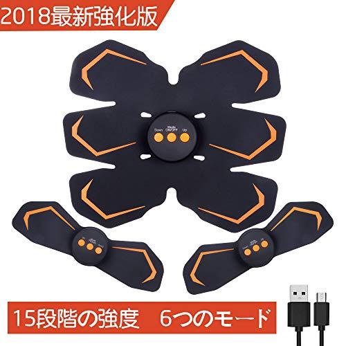 Subok EMS腹筋ベルト USB充電式 腹筋トレーニング ダイエット器具 フィットネスマシーン お腹·背中·腕·太もも 男女兼用 超薄 自動的 15段階強度 6モード 多様性 ジェルシート 日本語取扱説明書