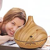 Casa Grande 300ml Essential Oil Diffuser (Wood Grain) with Volcano Design | Ultrasonic Aromatherapy Diffuser with 7 Colour LED Mood Lights | Cool Mist Aroma Humidifier | 3 timer options with Auto shut-off | Great for Home Office Spa Yoga and Relaxation | Australian Local Seller Fast Shipping