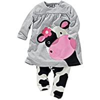Baby World Little Girls' 2pcs Milk Cow Suit Long Tops Pants Outfits