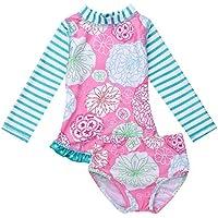 iEFiEL Little Baby Girls Long Sleeve Zip Sunsuit UPF 50+ One Piece Rash Guard Swimsuit