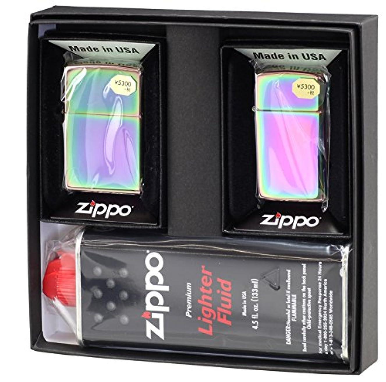 オーバーコート十代の若者たち争う【ZIPPO】 ジッポーライター オイル ライター ペア スペクトラム(虹色) ジッポ レギュラー&スリム 2個セット ペアセット専用パッケージ入り(オイル缶付き)
