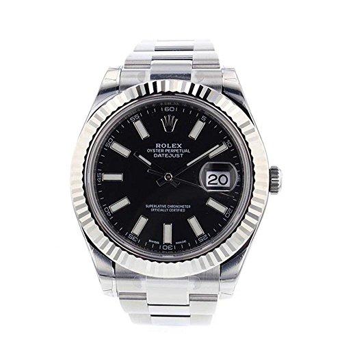 (ロレックス) Rolex デイトジャストII 41mm スチール ブラックダイヤル メンズ 腕時計 116334