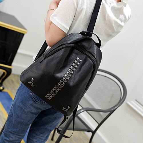 RaiFu リュック 女性 レディース ファッション クロスリベット PU カジュアル バックパック ポータブル 高容量 バッグ 旅行 お出かけ ブラック