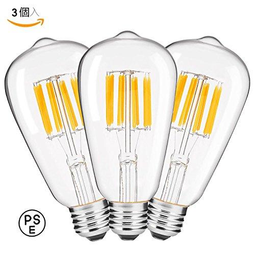 ZYYTech LED電球 E26口金 10W 白熱電球100W形相当 電球色2700K 1000lm クリアタイプ 広配光タイプ ST64 クリア電球 360度発光 調光器非対応 PSE (3個入)