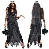 AMARISE ハロウィン ゾンビ 花嫁 コスプレ 衣装 3点セット ( ワンピース , ベール , 首飾り ) レディース フリーサイズ (FREE, ブラック)