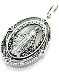 [シルバーワン] ku シルバー925 聖母マリア 不思議のメダイ アンティーク ペンダントトップ ネックレス メンズ