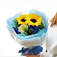 【夏に負けるな!サマーセール開催!】BIO Newひまわりブーケ フレグランスソープフラワー 12輪 クリアバック・ギフトボックス付 お祝い 記念日 お見舞い バレンタインデー ホワイトデー 母の日   (ブルー)