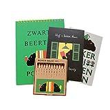 ブラック・ベア スケッチブック&色鉛筆セット (ブックエンド(緑))