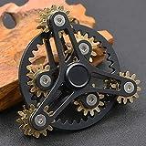 ハンドスピナー 指スピナー ストレス解消 齿轮 真鍮製 高速回転 Hand spinner Fidget Spinner Toy EDC 子供大人に適用 (ブラック 2)