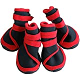 Sanwooden Essential for Diving 4Pcs Fashion Waterproof Pet Dog Shoes Anti-Slip Comfortable Protective Boots - Red XXL