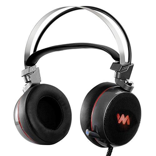 LEVIN ゲーミングヘッドセット サラウンドサウンド7.1 PS4ヘッドセット メタル振動モード 重低音アップ 伸縮マイク LEDライド/USBポート搭載 ゲームヘッドホン PS4 ヘッドセット ブラック