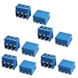 uxcell 端子台 ターミナルブロック PCBターミナルブロック PCBスクリューターミナルブロックコネクタ  3ピンポール  300V 16A ブルー 10個入り