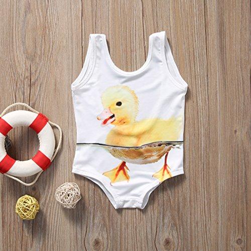 CANIS ベビー 子供 女の子 アヒル プリント 水着 ワンピース  キッズ  ガールズ可愛い 水遊びパンツ 白い 夏  (120cm(5~6歳))