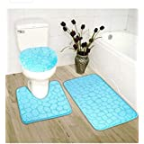 Luxury Home Collection 3 Piece Stone Embossed Solid Color Memory Foam Soft Bathroom Rug Set Non-Slip with Rubber Backing (Tur