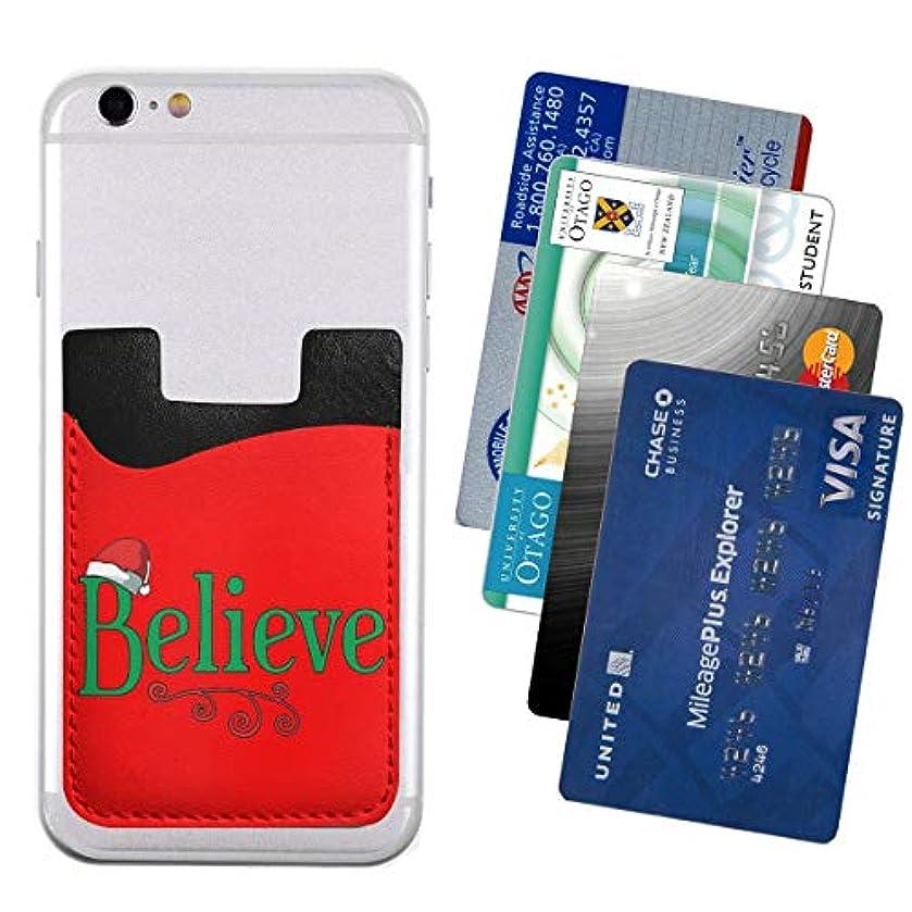 屋内で暴行あたたかい携帯ウォレット ポケット カードホルダースマートフォン カードポケッ Believe Christmas T 便利 携帯電話カードパッケージ2.4 * 3.5in