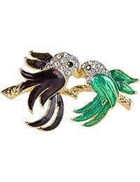 [エバーフェイス] EVER FAITH 鳥 カップル グリーン ブローチ クリスタル エナメル 合金 ゴールドトーン