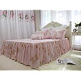 フランス式 ロマンティック 清新風シリーズ ベッドスカート 枕カバー2枚入り ピンク