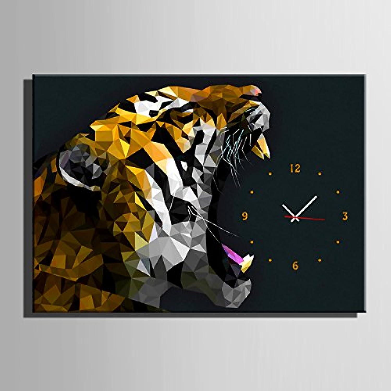 E-HOME 咆哮の虎 時計壁時計壁掛け時計飾り時計個性掛け時計 個性的な装飾画 インテリア絵 壁面装飾 (55*40CM*1pc)