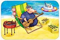 Carolines Treasures APH0079LCB Pig Sunbathing on the Beach Glass Cutting Board, Large