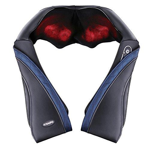 【敬老の日】 Naipo 首マッサージャー ネック・ショルダーマッサージ 器 ヒーター付き 首・肩・腰・背中・太もも 肩こり ストレス解消 家庭用&職場用&車用 温熱療法 (ブラック)