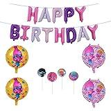 トロールズ 誕生日 飾り付け 可愛い キャラクター 子供 女の子 人形 ピンク パープル happy birthday バナー ガーランド バルーン 風船 ケーキトッパー 17枚セット